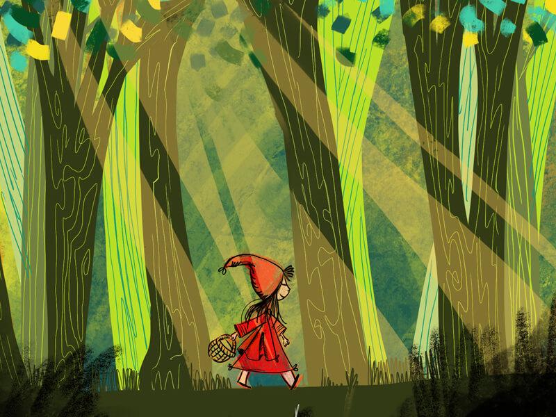 Illustration plé-plo - réalisation Chaperon rouge