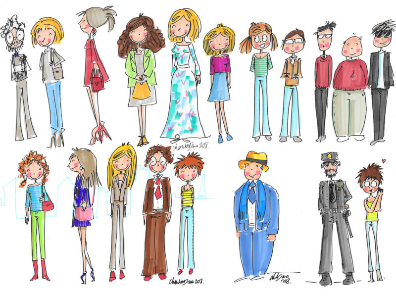 Illustration plé-plo - réalisation Portrait illustré - soirée ABC Anne Prost