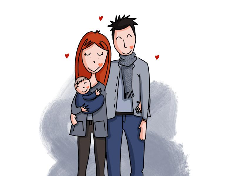 Illustration plé-plo - réalisation portrait de famille