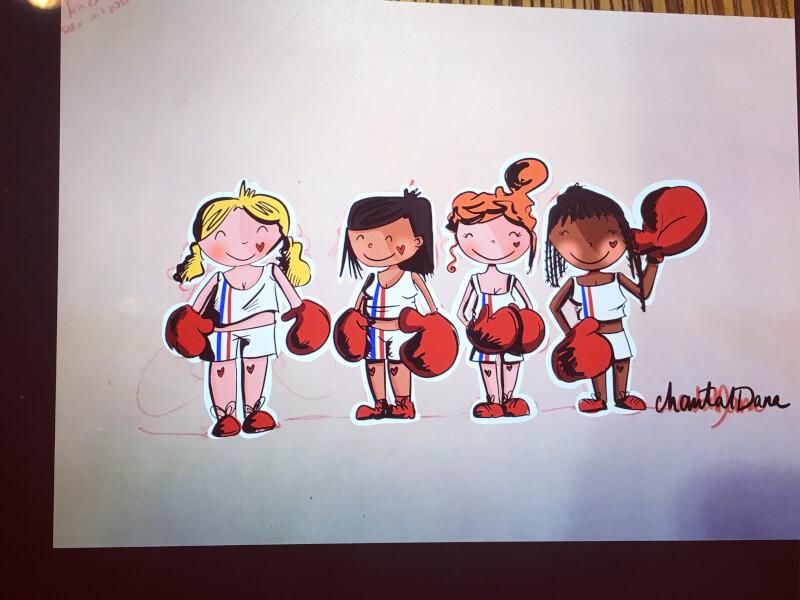 Illustration plé-plo - réalisation championnes de france Boxe