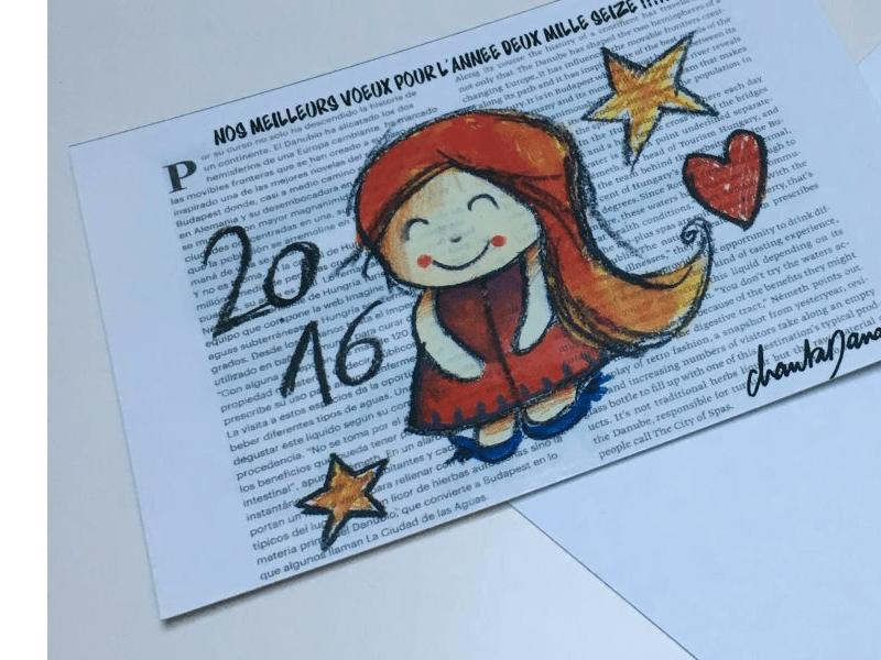 Illustration plé-plo - réalisation Carte de voeux