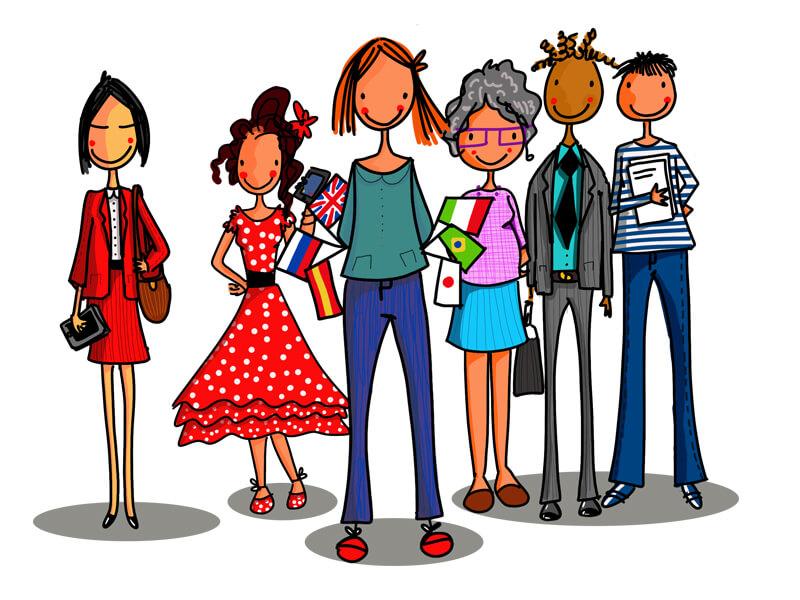 Illustration plé-plo - réalisation Personnages pour un site internet
